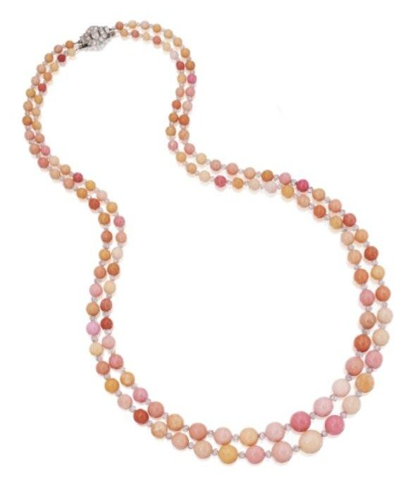 Conch Pearl Necklace: Platinum, Conch Pearl And Diamond Necklace