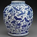 Jar with blue-and-white decoration of ducks in lotus pond. Chinese, Ming dynasty, Wanli period, 15721620 