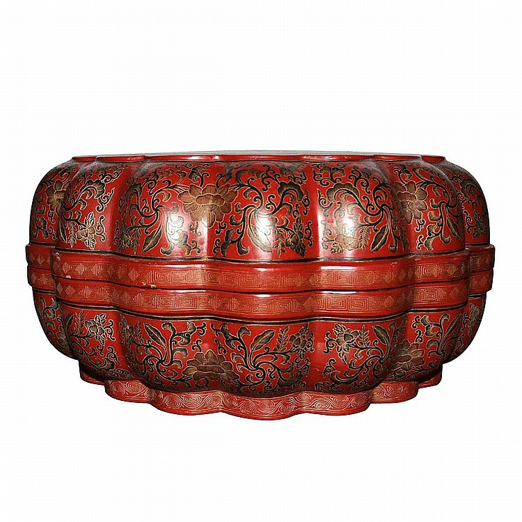 A Rare and Fine Tianqi Polychrome Lacquer Painted Lobed Dragon Box and Cover, Qing Dynasty, Qianlong2