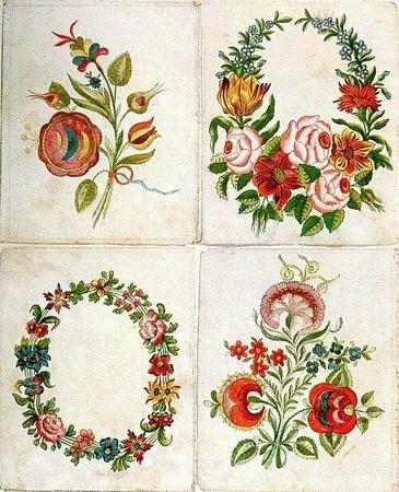 Une planche du livre d'échantillons de Istvan Fulep, tailleur à Miskolc, dans les années 1820