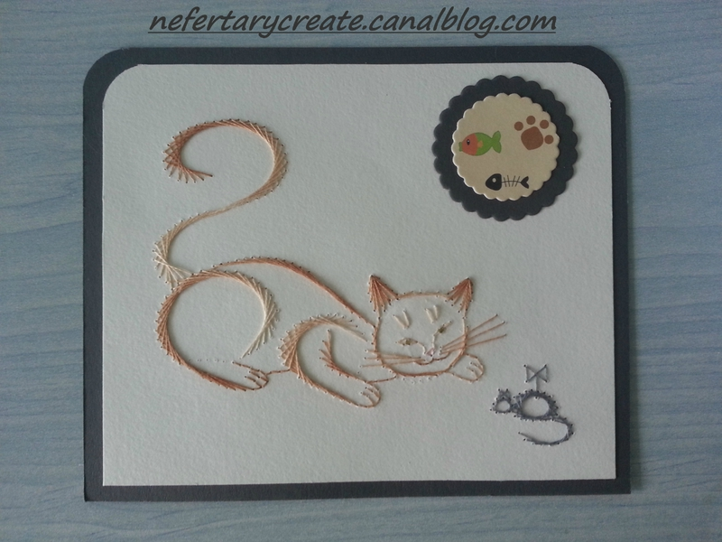 carte brodée chat