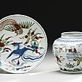 A wucai 'boys' jar and a ''phoenix' dish, ming dynasty, 16th-17th century