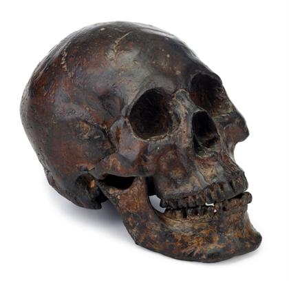 Life cast bronze human skull, 19th century. photo courtesy Freem