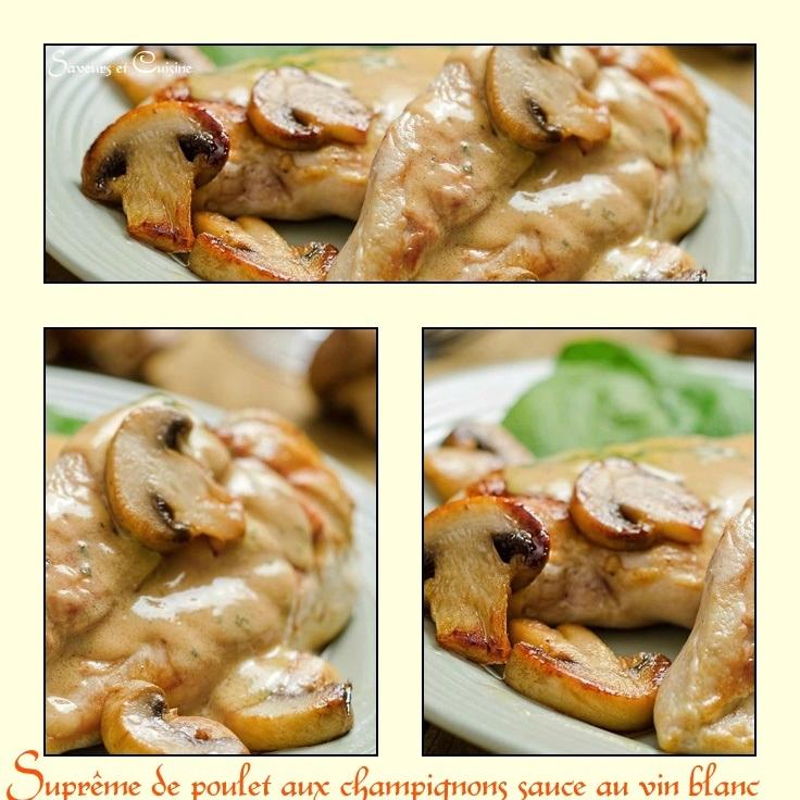 suprême de poulet aux champignons sauce au vin blanc