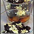 Crumble au chocolat sur lit de poires caramélisées