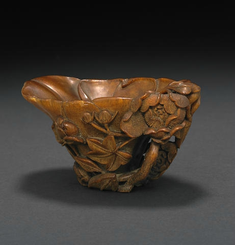 A rhinoceros horn libation cup, 17th-18th century
