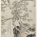 Shen zhou (chinese, 1427-1509) , yellow chrysanthemums and red osmanthus in the style of wang yuan, ming dynasty