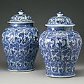 Two blue and white baluster jars and covers, qing dynasty, kangxi period