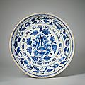 Large blue and white peony plate, lê dynasty, 15th–16th c. a.d., vietnam