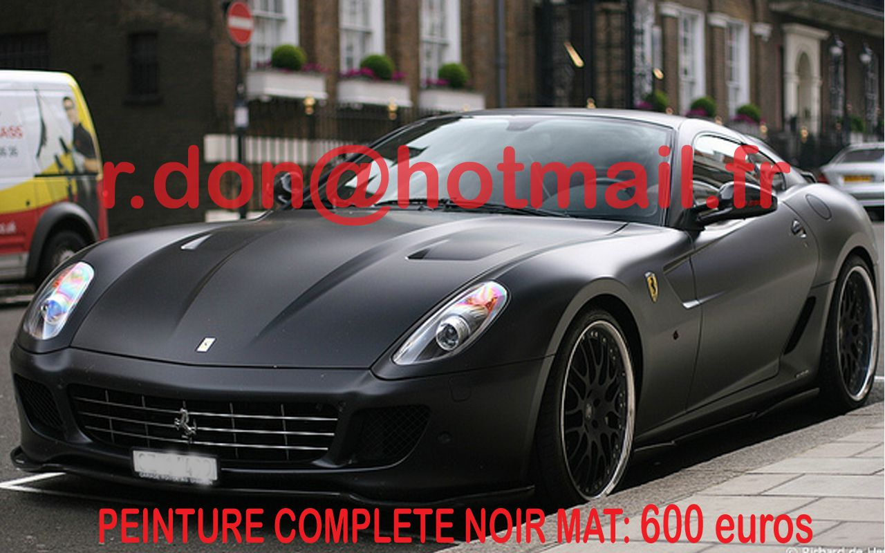 ferrari 599 gtb decoration pour voiture autocollant tuning stickers total covering noir mat. Black Bedroom Furniture Sets. Home Design Ideas