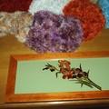 Sous verre décoré en peinture vitrail par des iris...