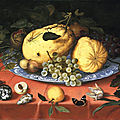 Balthasar van der ast, fruit still life with shells, 1620