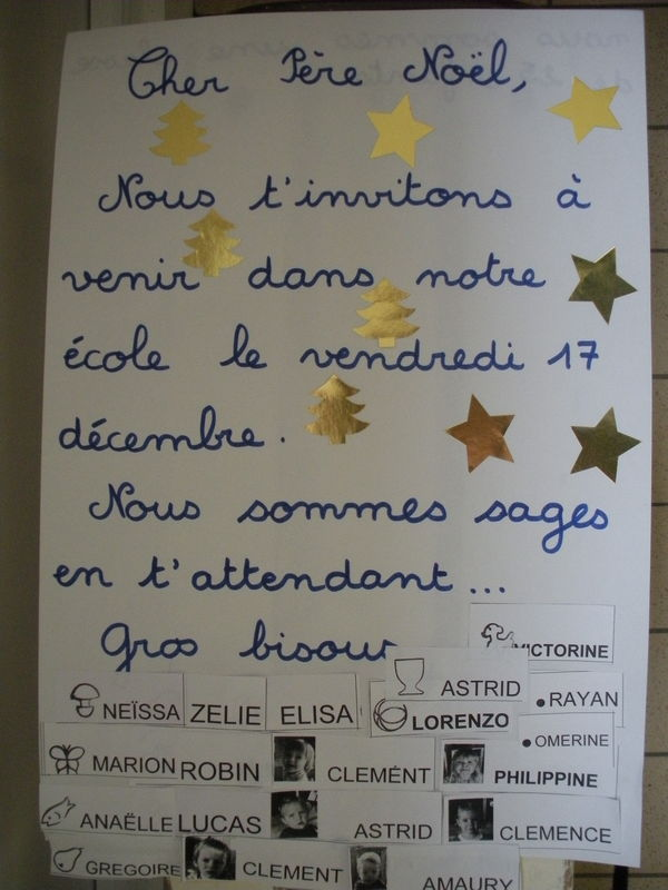 La lettre au p re no l la maternelle de l 39 cole jacques brel - Pere noel maternelle ...