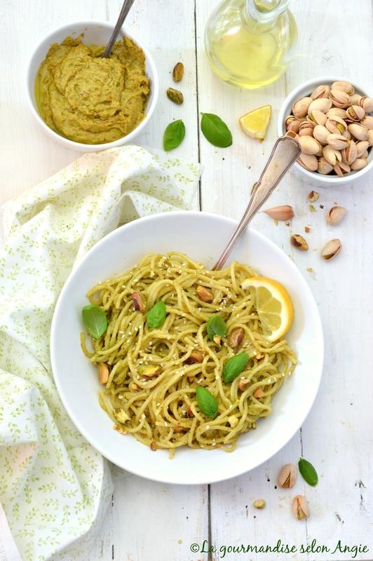 spaghetti pesto pistache citron basilic vegan