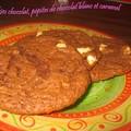 Cookies chocolat noir, pépite de chocolat blanc et de caramel