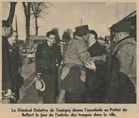 Photo De Lattre & Préfet Belfort 1 déc 1944