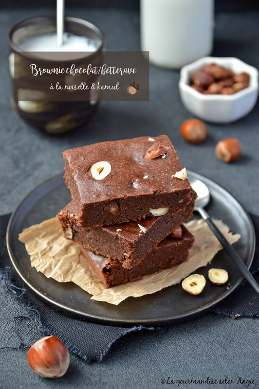 brownie vegan chocolat betterave noisettes et farine de kamut