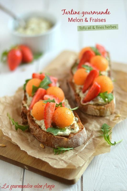 tartine salée végétale fraise melon ail et fines herbes