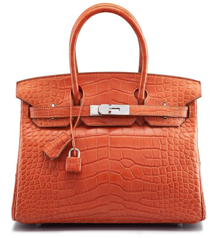 A 30 cm Matte Sanguine Alligator Birkin Bag
