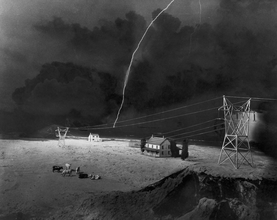 A tiny model farm built for lightning research and power line tests, June 1950