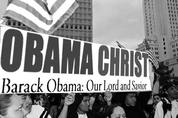 Rally Poster ObamaChristBW