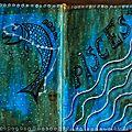 Challenges artjournal et gribouillages : bonbons, film, vert, gratitude, poisson