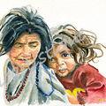 carte n° 23 - grand mère et la petite fille
