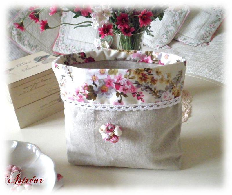 Pochette lin et tissu fleuri