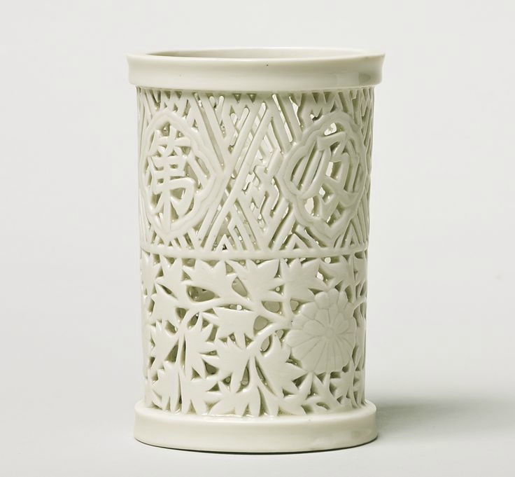 A Dehua reticulated brushpot (bitong), Late 17th - Early 18th century
