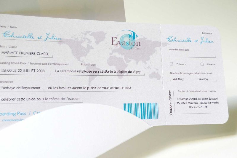 Favori faire-part billet d'avion : évasion airline, embarquement voyage  CC76