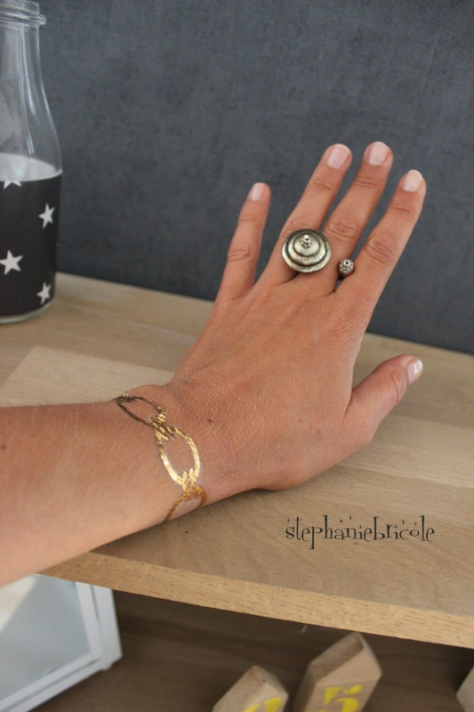bague diy metal perles