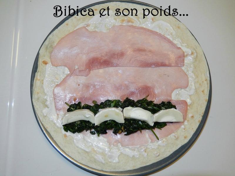 Wrap jambon, chèvre et épinards montage