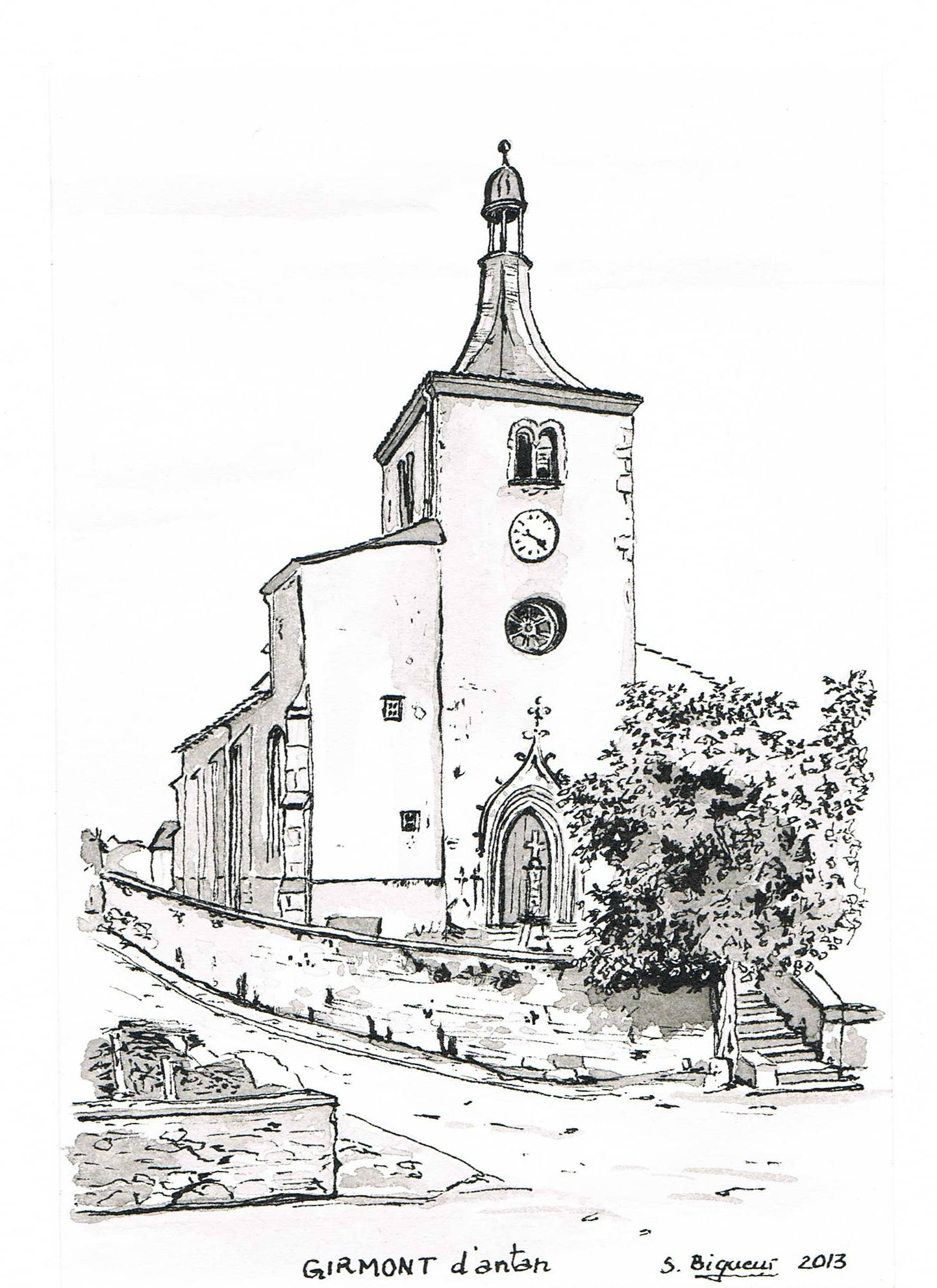Eglise de girmont fin 18 me si cle photo de dessins l - Coloriage eglise ...