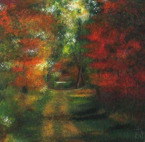 Automne en forêt de Fontainebleau - Gouache sur papier