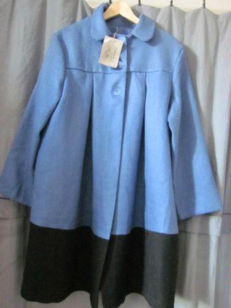 manteau d'été bicolore en lin bleu france et noir (17)