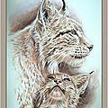 Vigilance et protection - Femelle lynx boréal et son chaton - Inspiration photo Fiet Beurskens - Gouache monochrome Sépia Ghislaine Letourneur