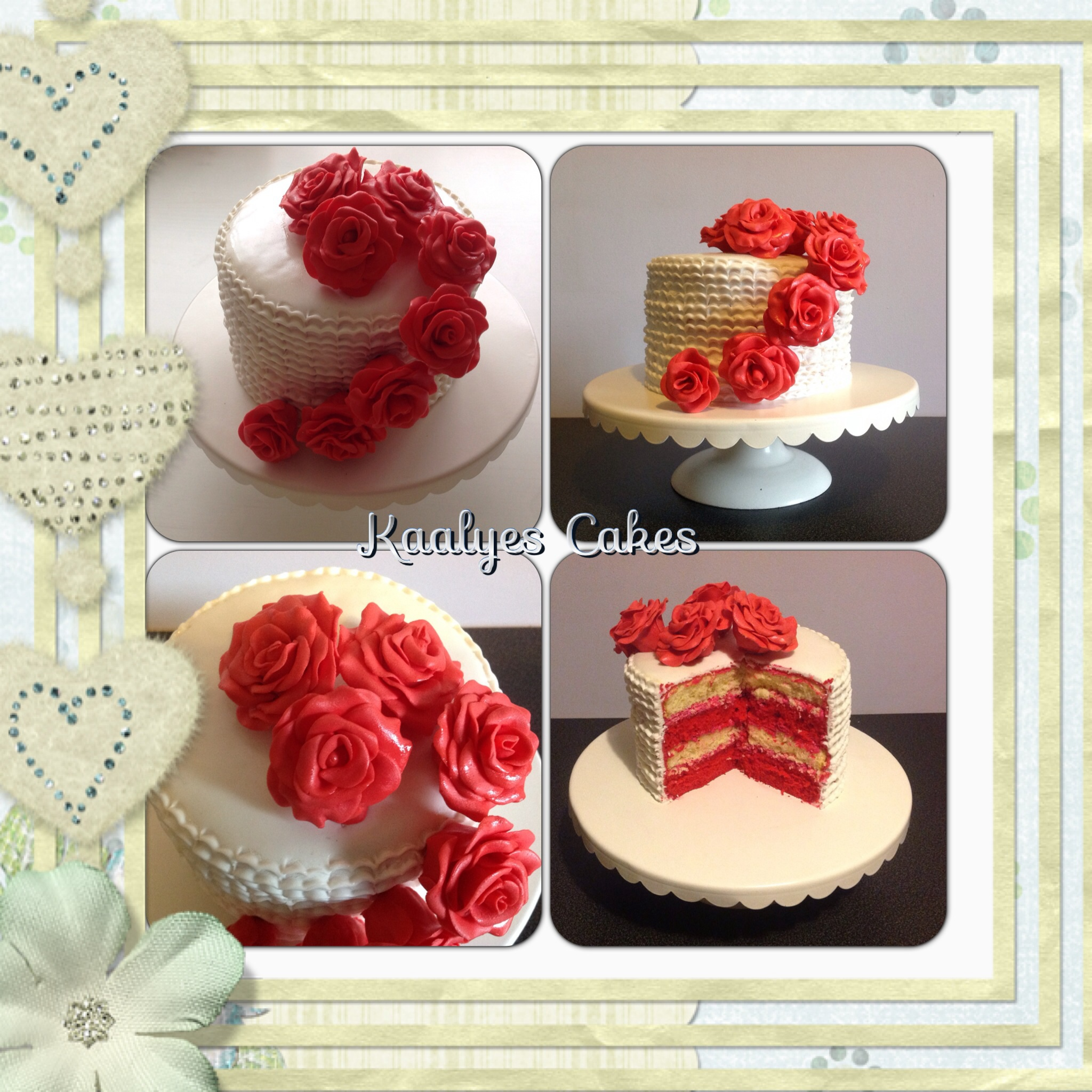 g teau romantique roses rouges photo de fondant cakes g teaux d co p te sucre kaalyes cakes. Black Bedroom Furniture Sets. Home Design Ideas