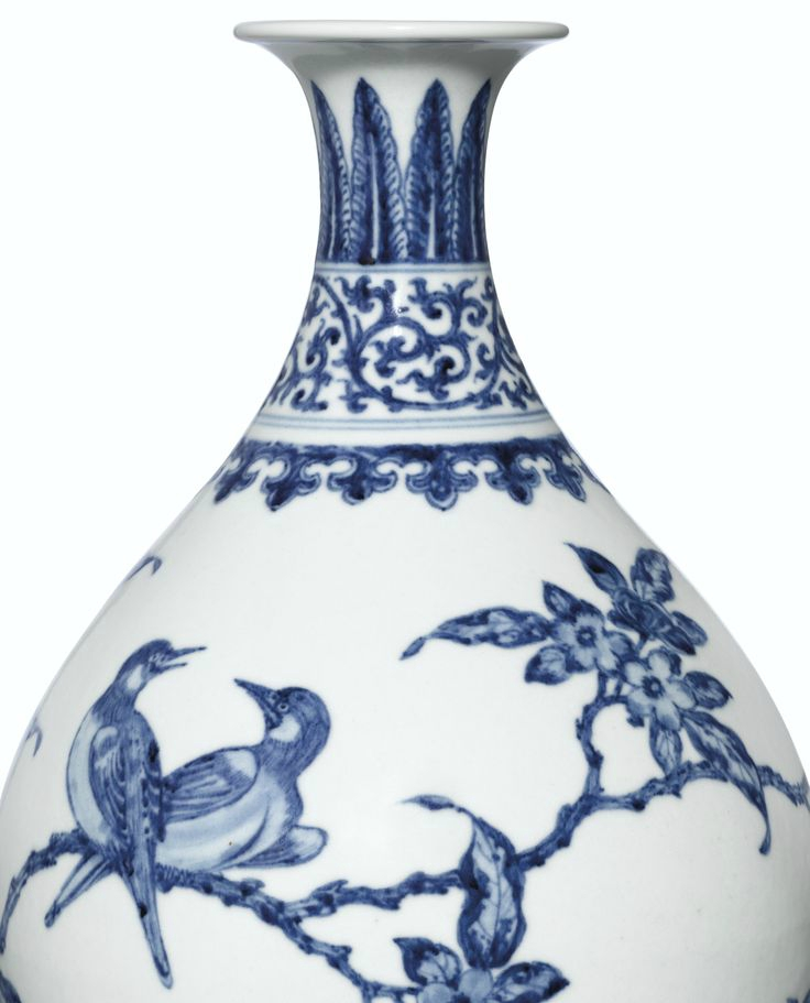 a rare ming style blue and white bird and flower vase yuhuchunping mark and period of yongzheng 1723 1735