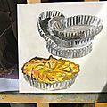 - huile sur toile - 40x40 - tarte aux pommes -