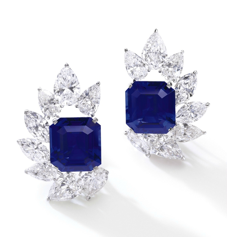 A Pair of Burmese Sapphire and Diamond Earrings by Cartier