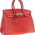 Hermes 35cm matte bougainvillea porosus crocodile birkin bag with palladium hardware