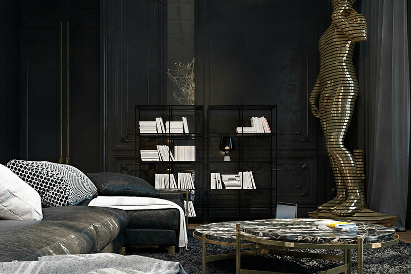 Opulent-living-room-gilded-statue-of-David-distressed-leather-sofa-iron-ore-bookcase