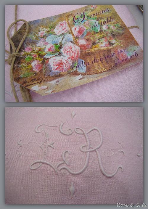 serviettes en lin damassé rose