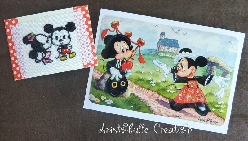 ATC personnages imaginaires Mickey et carte