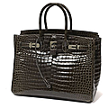 Herms Paris made in france. Sac Birkin 35 cm en crocodile porosus gris vison
