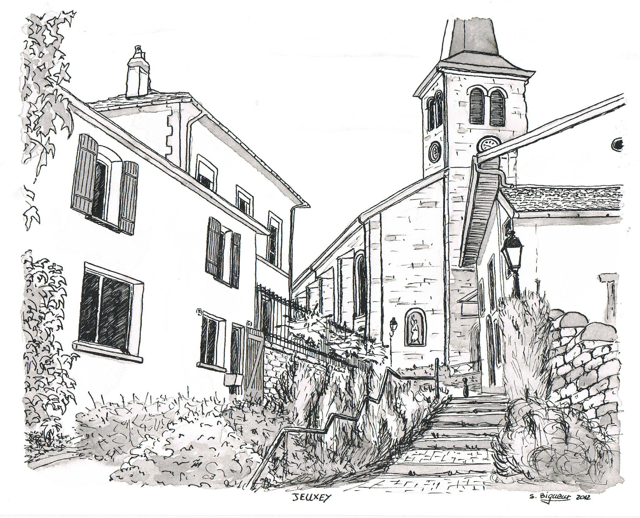 Rue de l 39 eglise jeuxey expotoiles - Dessin eglise ...