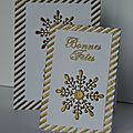 Cartes de fin d'année or et blanc