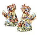 A pair of chinese export porcelain famille-rose mythical beasts, 19th century