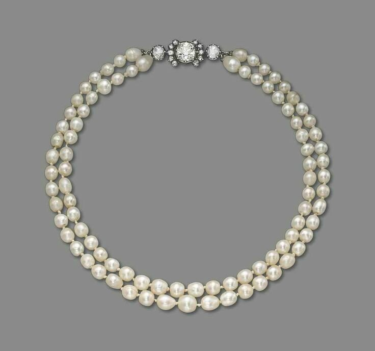 Natural Saltwater Pearl Necklace: An Antique Natural Pearl, Cultured Pearl And Diamond