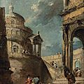 Francesco guardi (venice 1712-1793), a capriccio of a palladian rotunda and a colonnade with figures conversing
